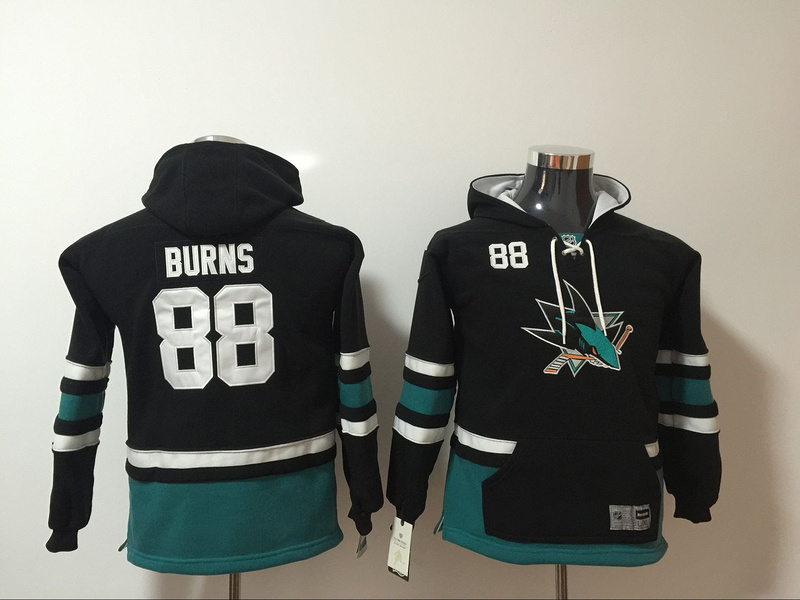 San Jose Sharks 88 Brent Burns Black Youth All Stitched Hooded Sweatshirt