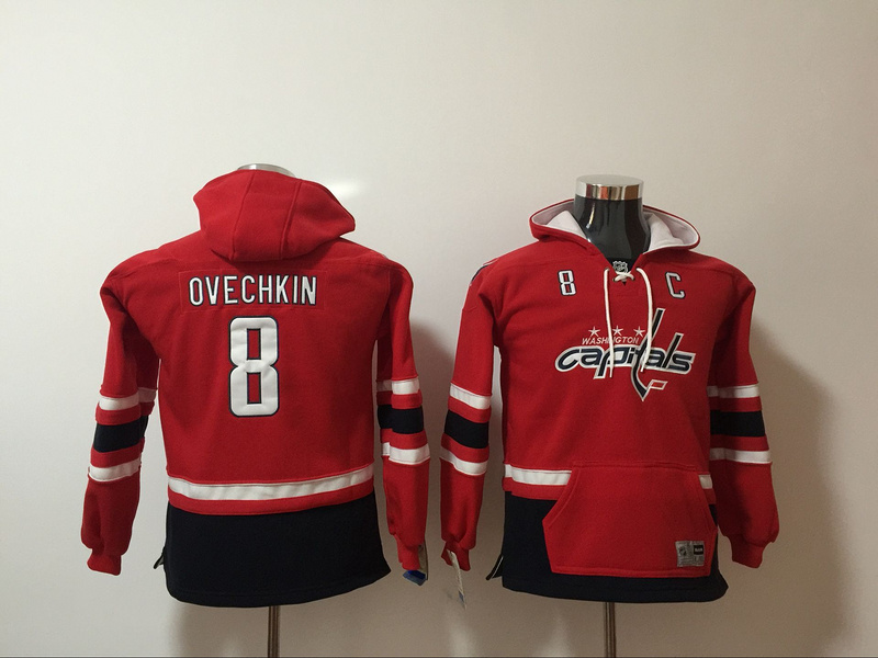 Washington Capitals 8 Alex Ovechkin Red Youth All Stitched Hooded Sweatshirt
