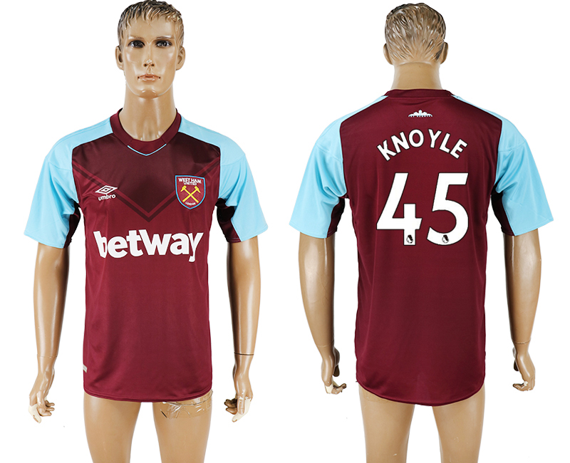 2017-18 West Ham United 45 KNOYLE Home Thailand Soccer Jersey