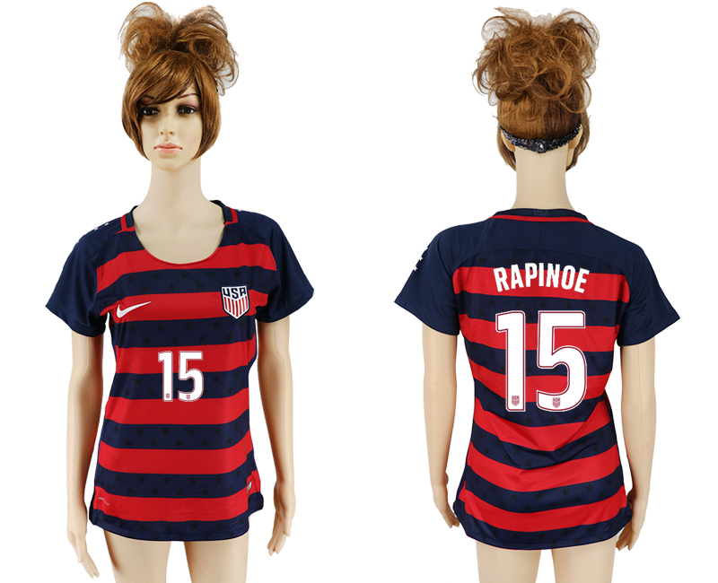 USA 15 RAPINOE 2017 CONCACAF Gold Cup Away Women Soccer Jersey