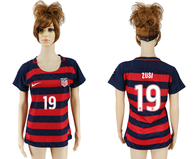 USA 19 ZUSI 2017 CONCACAF Gold Cup Away Women Soccer Jersey