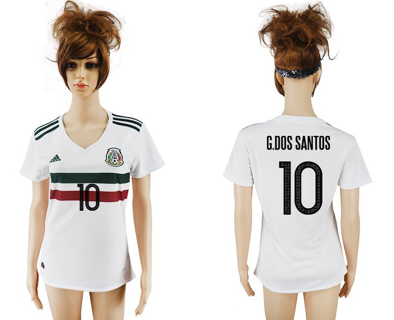 2017-18 Mexico 10 G.DOS SANTOS Away Women Soccer Jersey