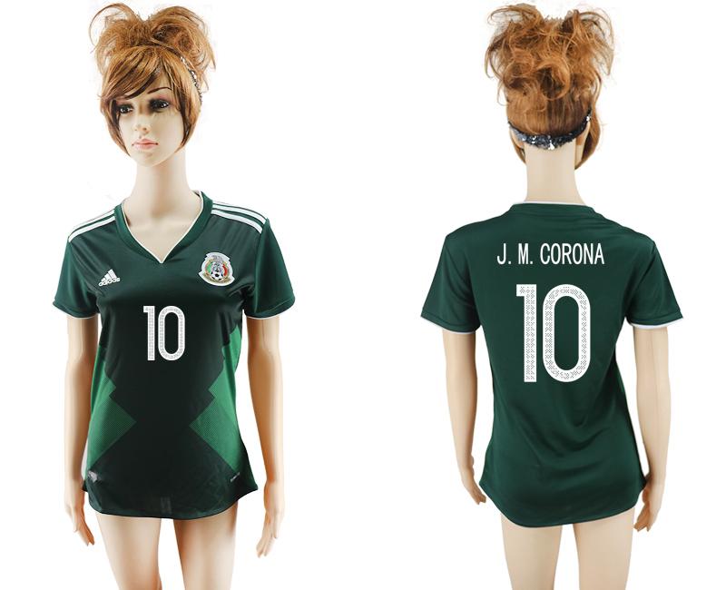 2017-18 Mexico 10 J. M. CORONA Home Women Soccer Jersey