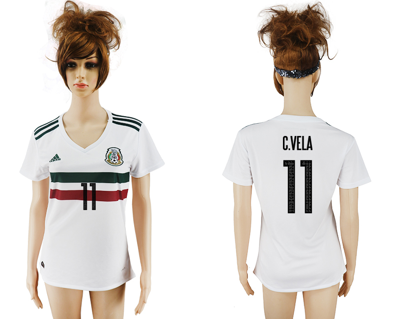 2017-18 Mexico 11 C.VELLA Away Women Soccer Jersey