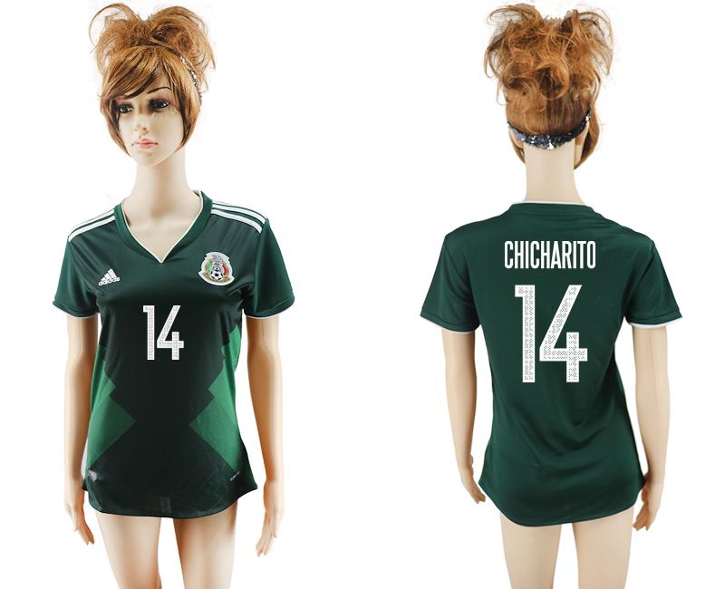 2017-18 Mexico 14 CHICHARITO Home Women Soccer Jersey