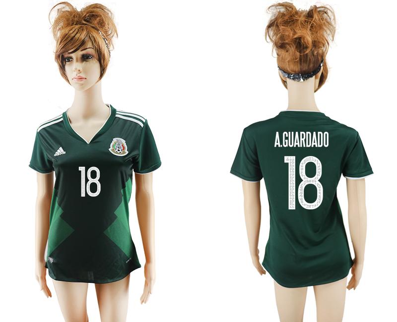 2017-18 Mexico 18 A.GUARDADO Home Women Soccer Jersey