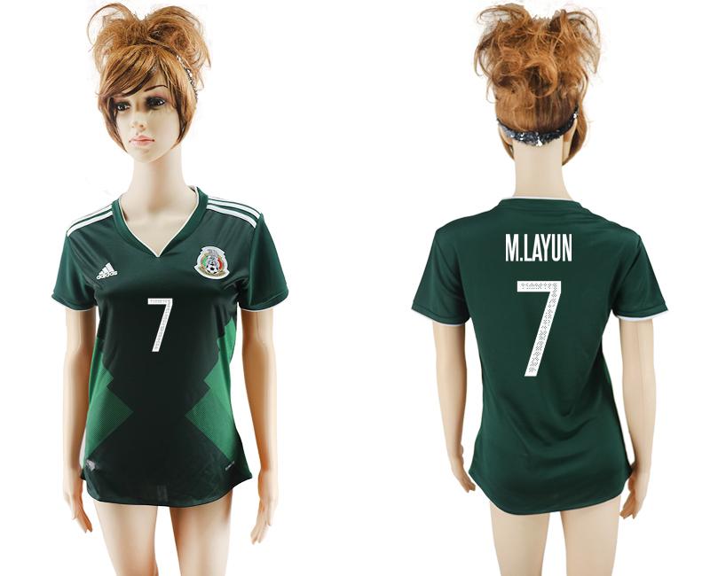 2017-18 Mexico 7 M.LAYUN Home Women Soccer Jersey
