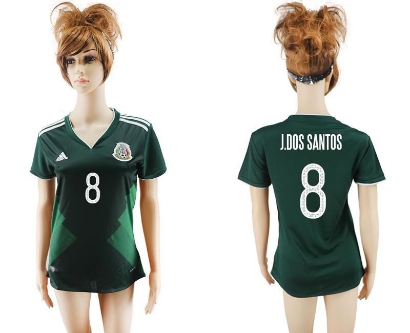 2017-18 Mexico 8 J.DOS SANTOS Home Women Soccer Jersey