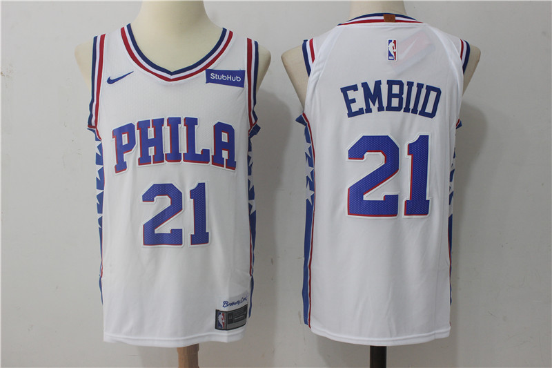 76ers 21 Joel Embiid White Nike Authentic Jersey