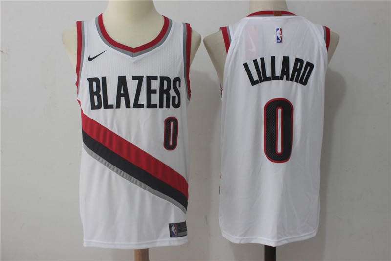 Blazers 0 Damian Lillard White Nike Authentic Jersey