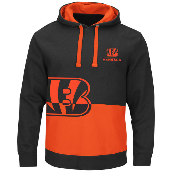 Cincinnati Bengals Black & Orange Split All Stitched Hooded Sweatshirt
