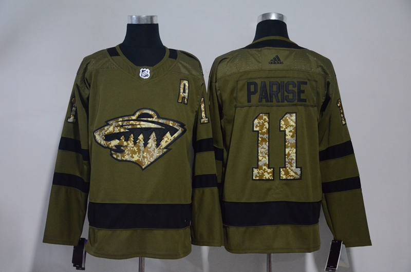 Wild 11 Zach Parise Olive Green Adidas Jersey