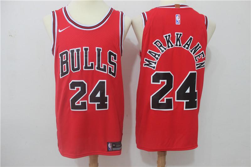Bulls 24 Laur Markkanen Red Nike Authentic Jersey