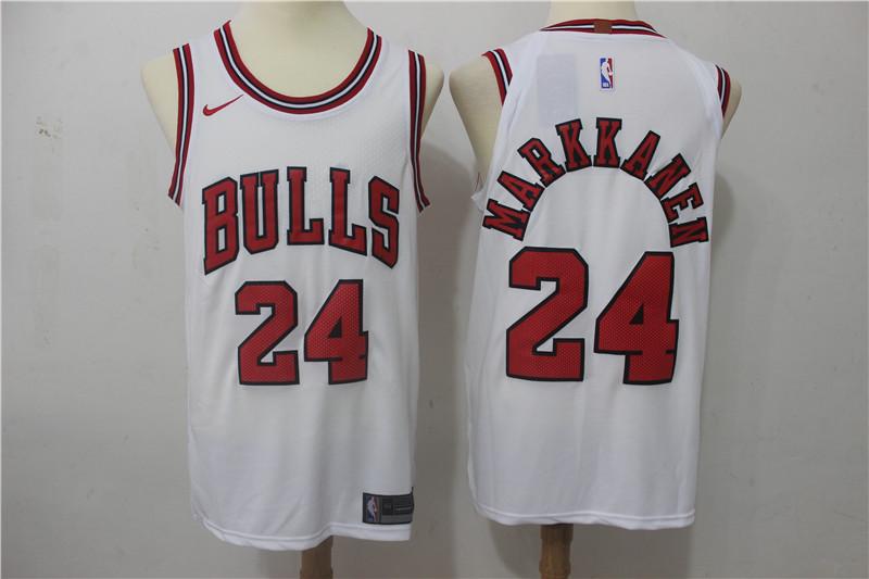 Bulls 24 Laur Markkanen White Nike Authentic Jersey