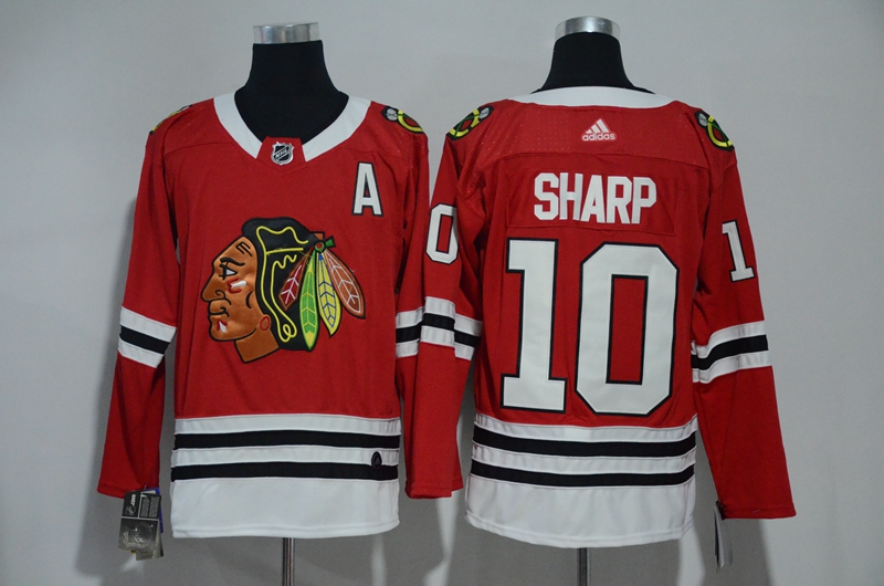 Blackhawks 10 Patrick Sharp Red Adidas Jersey