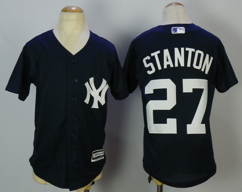 Yankees 27 Giancarlo Stanton Navy Youth Cool Base Jersey