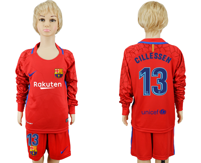 2017-18 Barcelona 13 CILLESSEN Red Youth Long Sleeve Goalkeeper Soccer Jersey