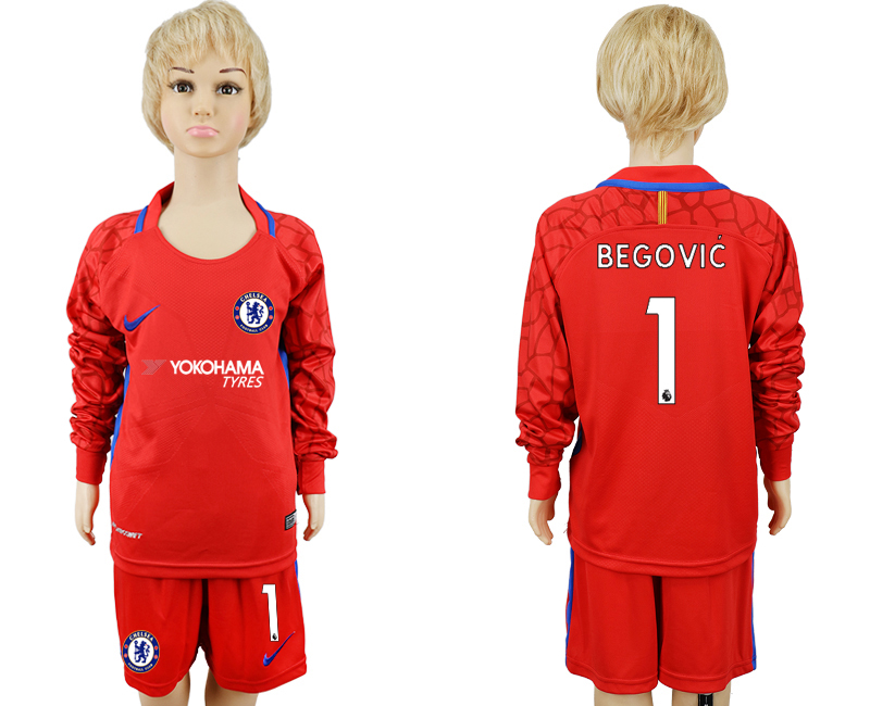 2017-18 Chelsea 1 BEGOVIC Red Youth Long Sleeve Goalkeeper Soccer Jersey