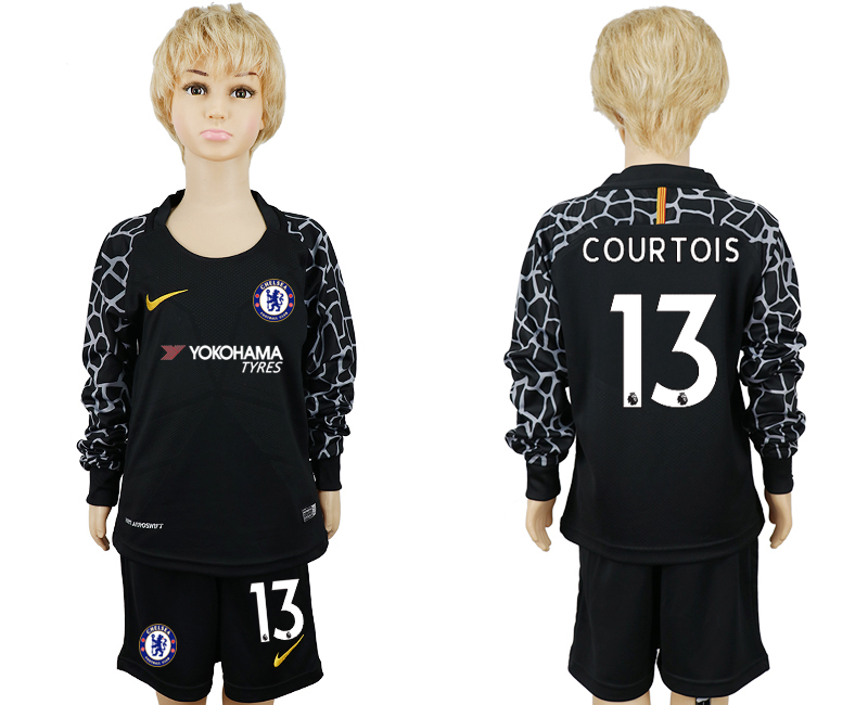 2017-18 Chelsea 13 COURTOIS Black Youth Long Sleeve Goalkeeper Soccer Jersey