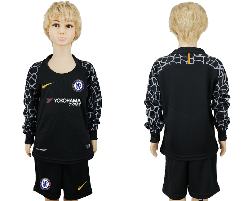 2017-18 Chelsea Black Youth Long Sleeve Goalkeeper Soccer Jersey