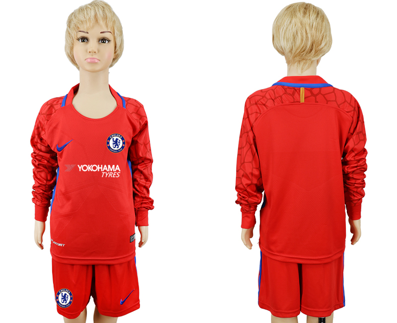 2017-18 Chelsea Red Youth Long Sleeve Goalkeeper Soccer Jersey