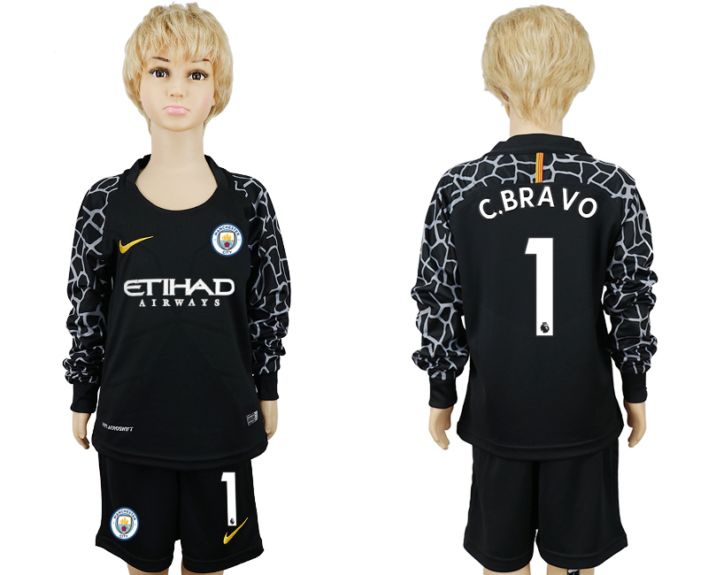 2017-18 Manchester City 1 C.BRAVO Black Youth Long Sleeve Goalkeeper Soccer Jersey