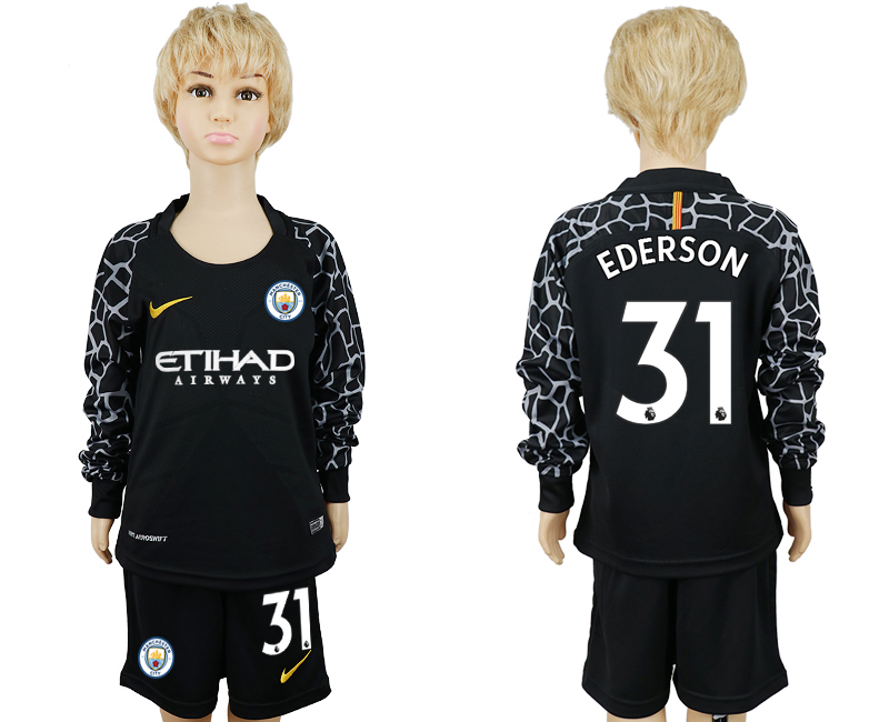 2017-18 Manchester City 31 EDERSON Black Youth Long Sleeve Goalkeeper Soccer Jersey
