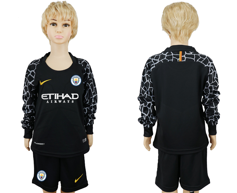 2017-18 Manchester City Black Youth Long Sleeve Goalkeeper Soccer Jersey