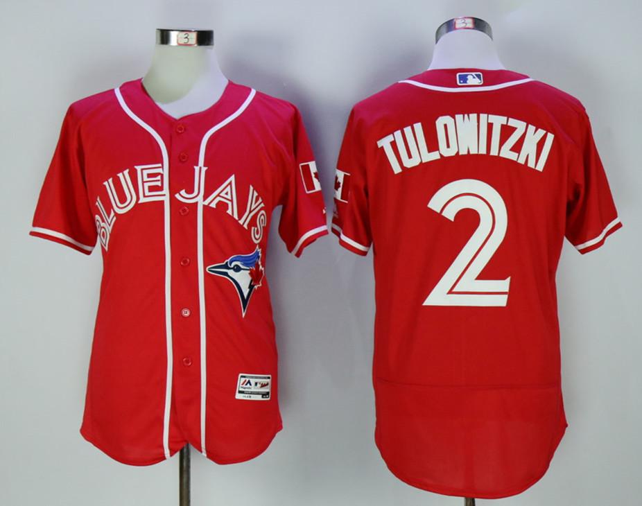 Blue Jays 2 Troy Tulowitzki Red Alternate Flexbase Jersey