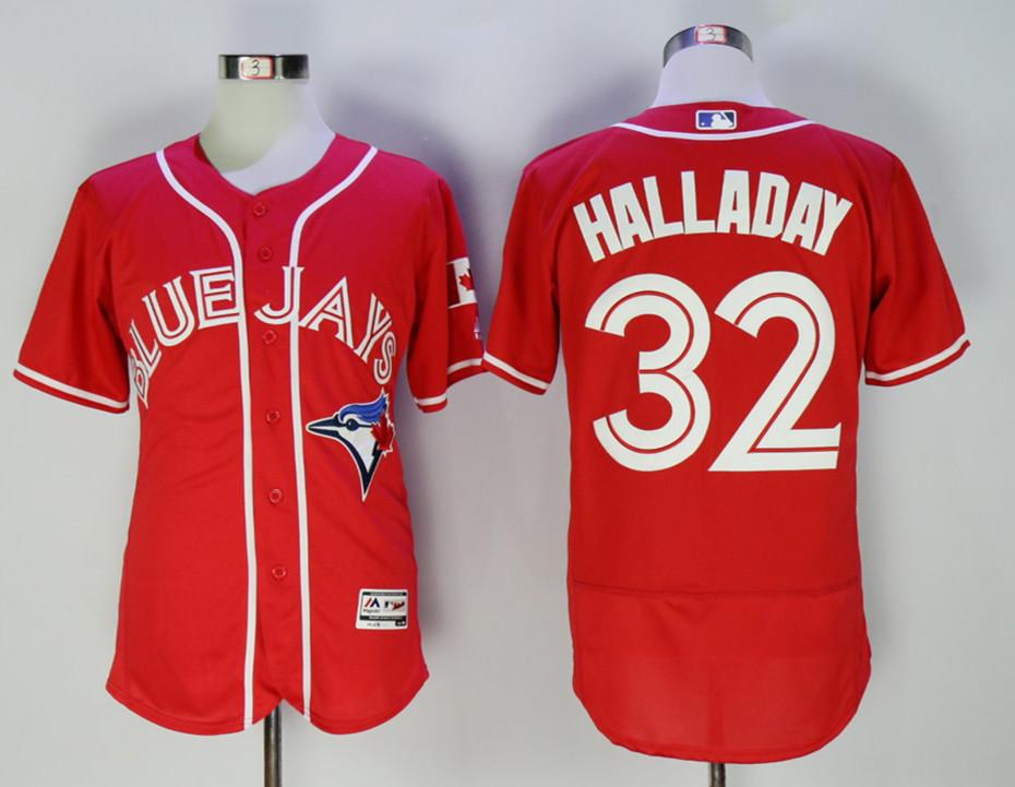 Blue Jays 32 Roy Halladay Red Alternate Flexbase Jersey