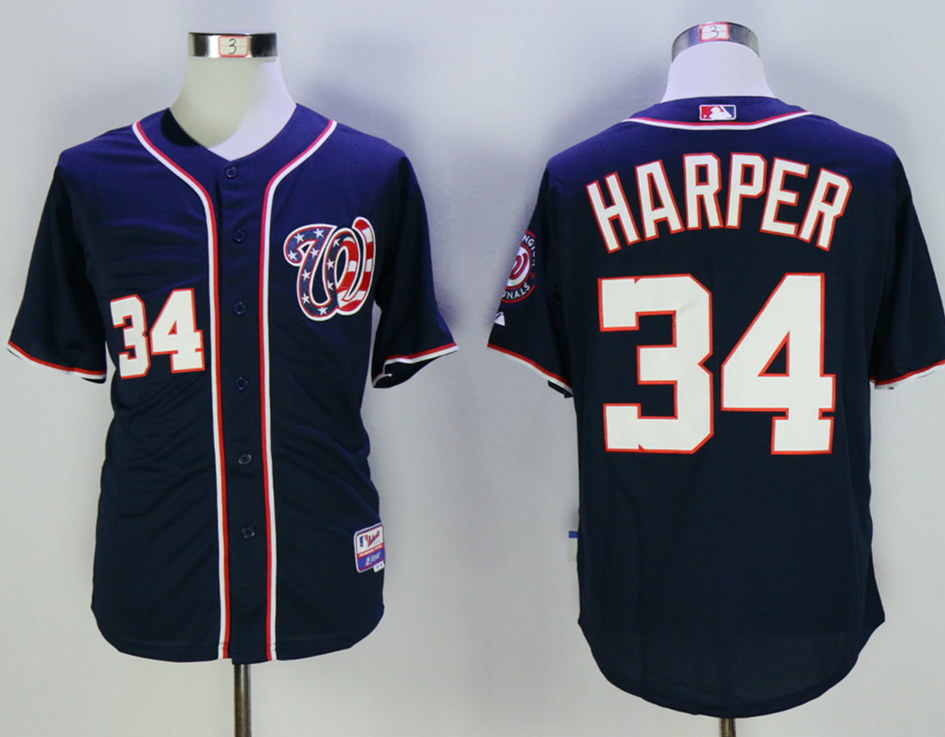 Nationals 34 Bryce Harper Navy Cool Base Jersey