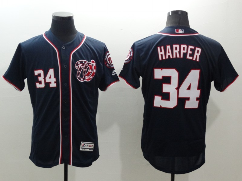 Nationals 34 Bryce Harper Navy Flexbase Jersey