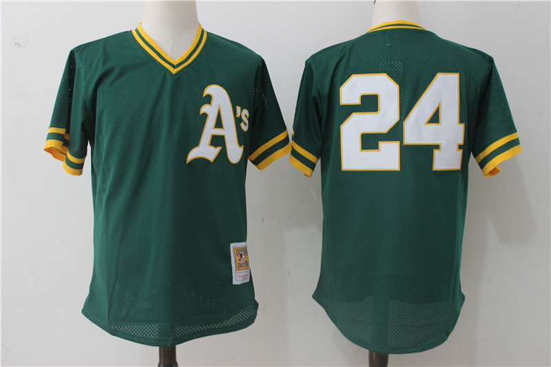 Athletics 24 Rickey Henderson Green Cooperstown Collection Batting Practice Jersey