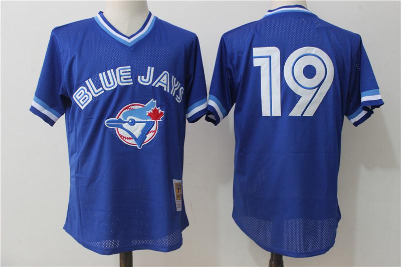 Blue Jays 19 Jose Bautista Blue Cooperstown Collection Mesh Batting Practice Jersey
