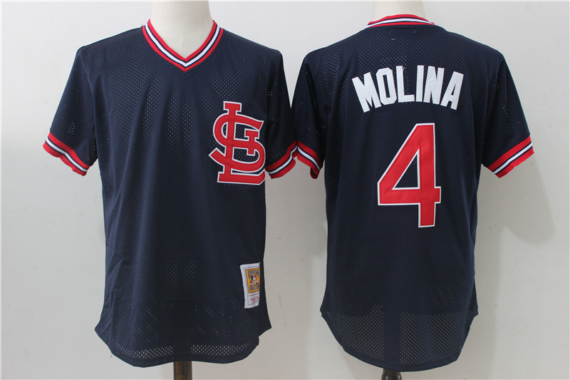 Cardinals 4 Yadier Molina Navy Cooperstown Collection Jersey