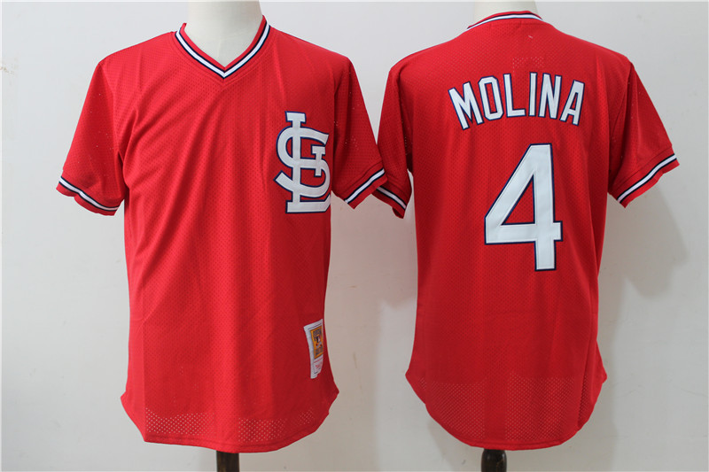 Cardinals 4 Yadier Molina Red Cooperstown Collection Jersey