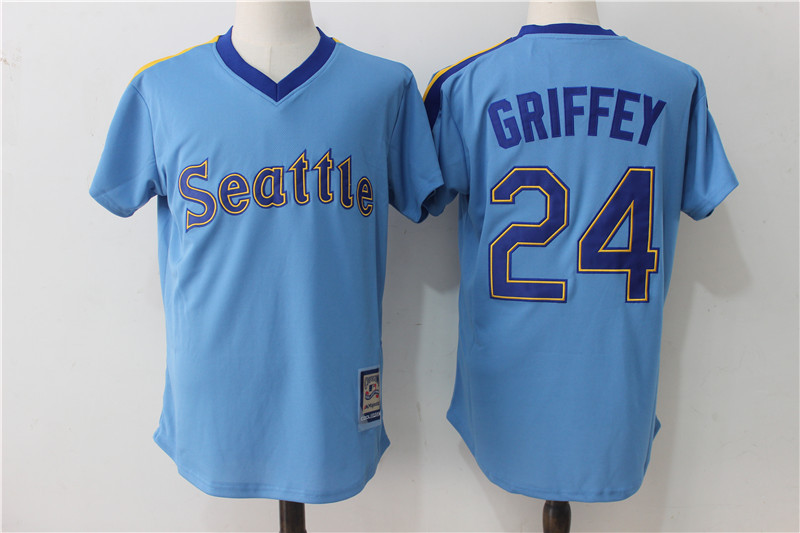 Mariners 24 Ken Griffey Jr. Blue Cooperstown Collection Jersey