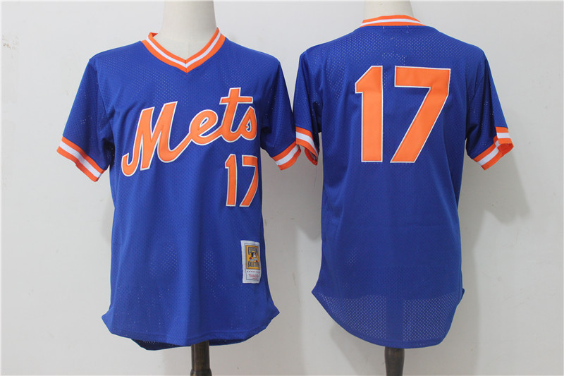 Mets 17 Keith Hernandez Blue Cooperstown Collection Mesh Batting Practice Jersey
