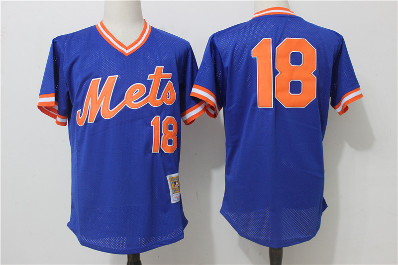 Mets 18 Darryl Strawberry Blue Cooperstown Collection Mesh Batting Practice Jersey