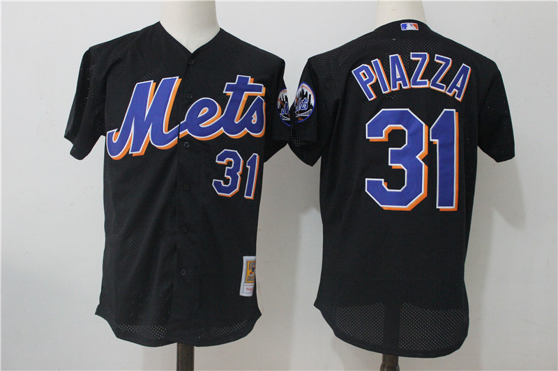 Mets 31 Mike Piazza Black Cooperstown Collection Mesh Batting Practice Jersey