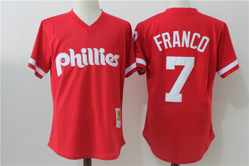 Phillies 7 Maikel Franco Red Cooperstown Collection Mesh Batting Practice Jersey