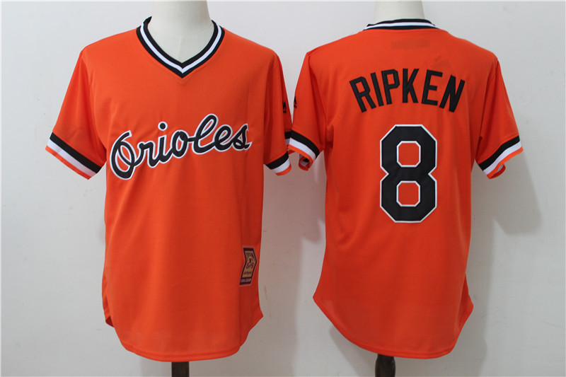 Orioles 8 Cal Ripken Jr Orange Cooperstown Collection Jersey