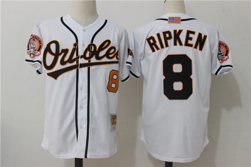 Orioles 8 Cal Ripken Jr White Cooperstown Collection Jersey