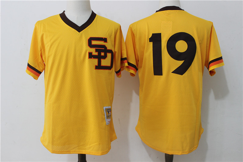 Padres 19 Tony Gwynn Gold 1982 Cooperstown Collection Mesh Batting Practice Jersey