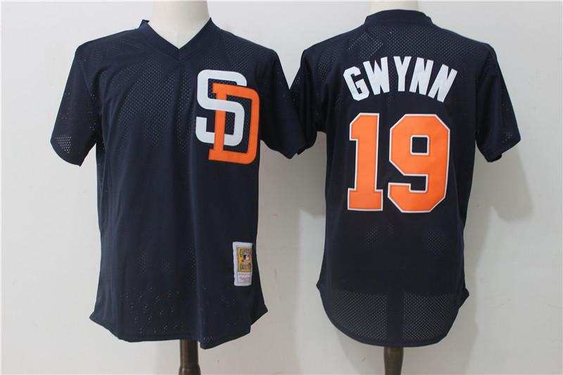 Padres 19 Tony Gwynn Navy Cooperstown Collection Mesh Batting Practice Jersey