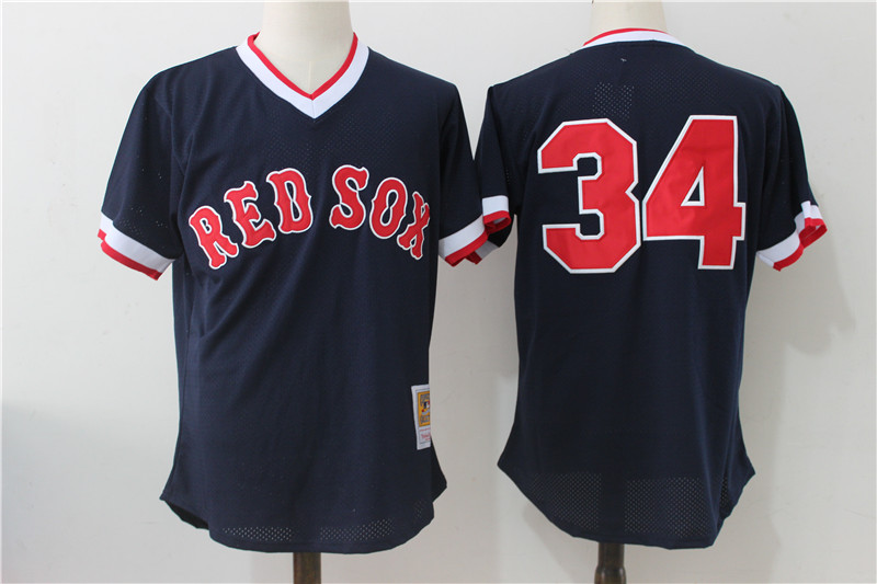 Red Sox 34 David Ortiz Navy Cooperstown Collection Mesh Batting Practice Jersey