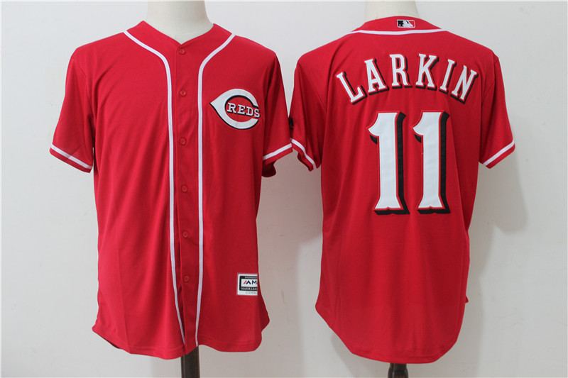 Reds 11 Barry Larkin Red Cool Base Jersey