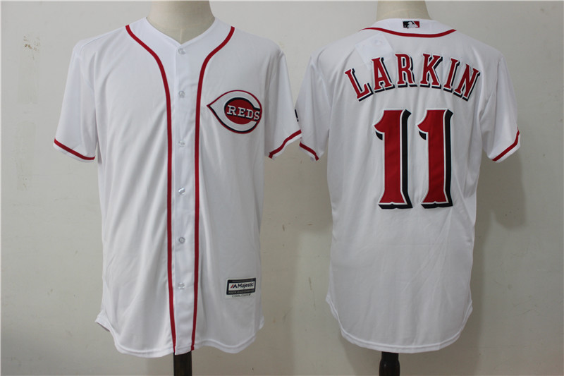 Reds 11 Barry Larkin White Cool Base Jersey