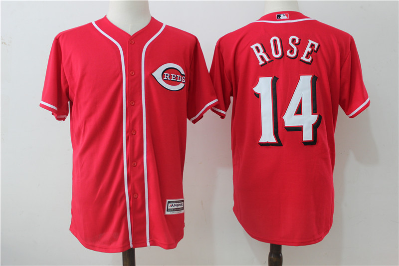 Reds 14 Pete Rose Red Cool Base Jersey