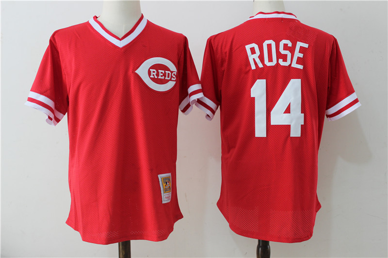 Reds 14 Pete Rose Red Cooperstown Collection Mesh Batting Practice Jersey